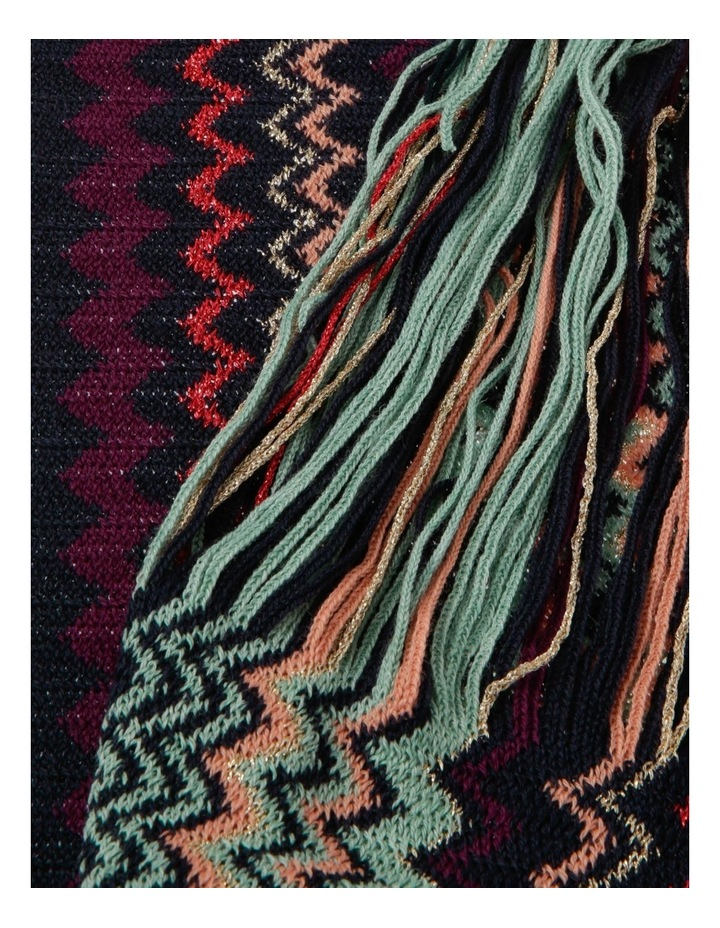 Zigzag Knit Scarf with Fringe - Purple/Teal image 2