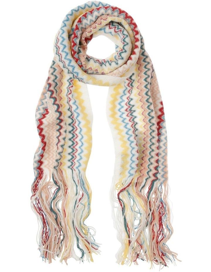 Zigzag Knit Scarf with Fringe - Ivory image 1
