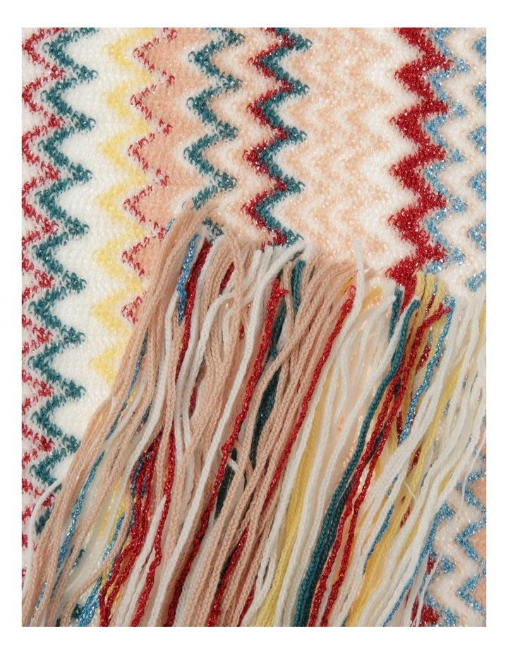 Zigzag Knit Scarf with Fringe - Ivory image 2