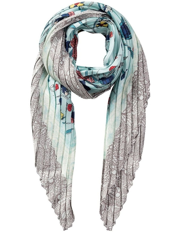 GNKR032M Pleated Botanical Neckerchief Scarf image 1
