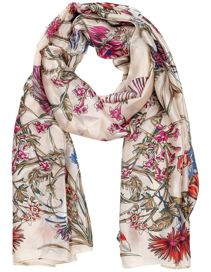 Gnks087M White Base Floral Scarf image 1