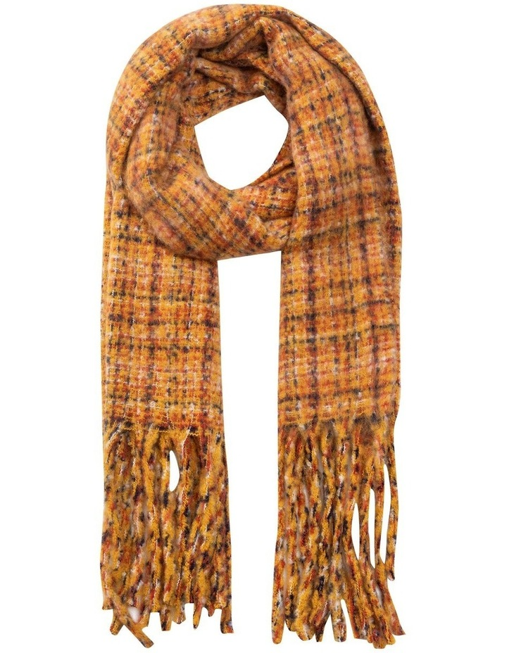 GNKS041M Boucle Check Yellow Winter Scarf image 1