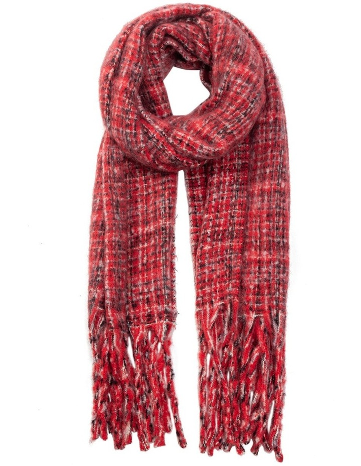 GNKS041M Boucle Check Pink Winter Scarf image 1