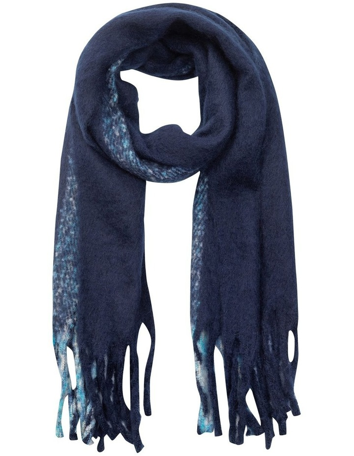 GNKS085M Fuzzy Stripe Navy Winter Scarf image 1