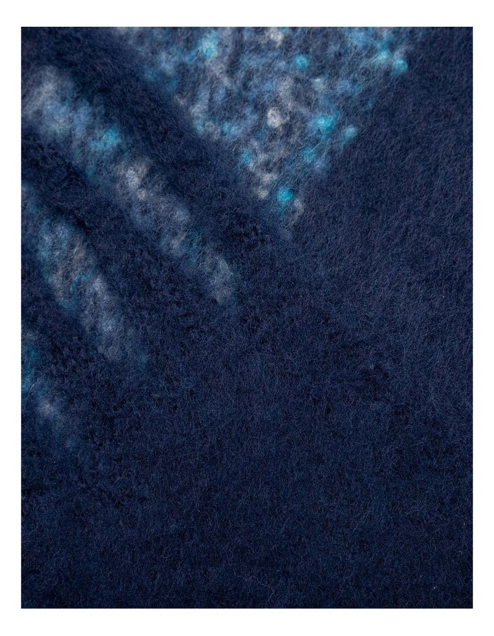GNKS085M Fuzzy Stripe Navy Winter Scarf image 2