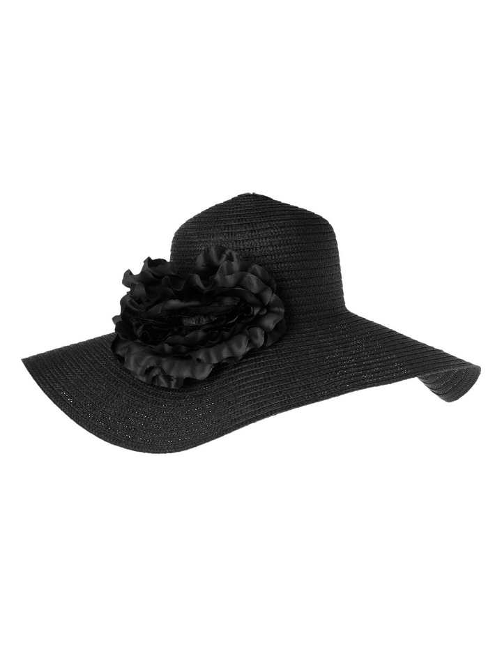 Paper Braid Wide Brim Hat with Flower Trim image 2
