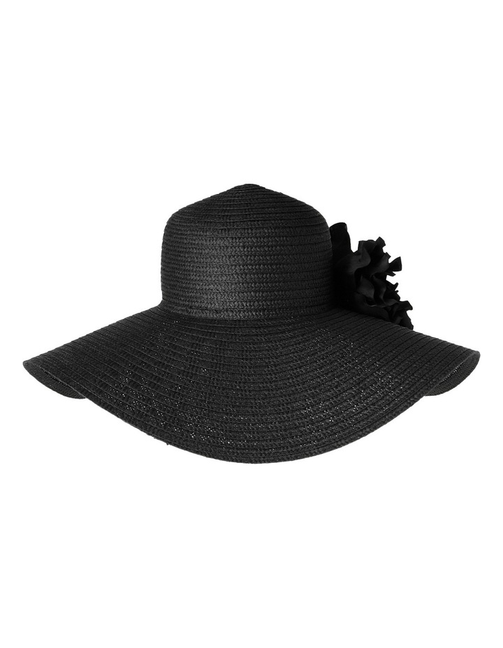 Paper Braid Wide Brim Hat with Flower Trim image 3