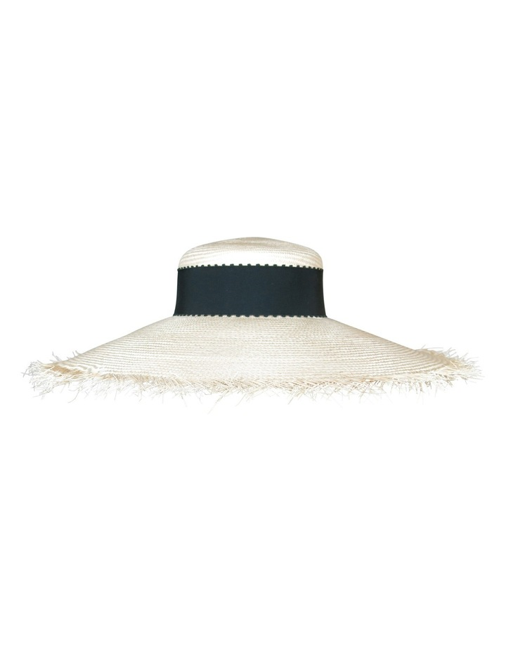 Wide Brim Raw Edge Hat With Trim image 1