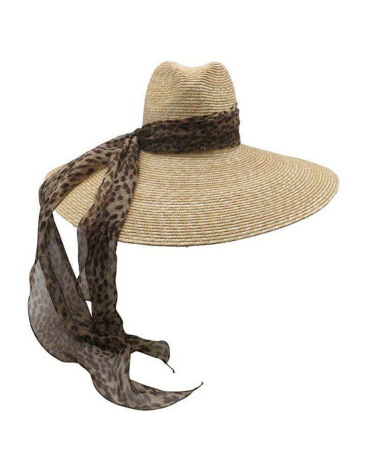 Wide Brim Straw Hat With Scarf image 1