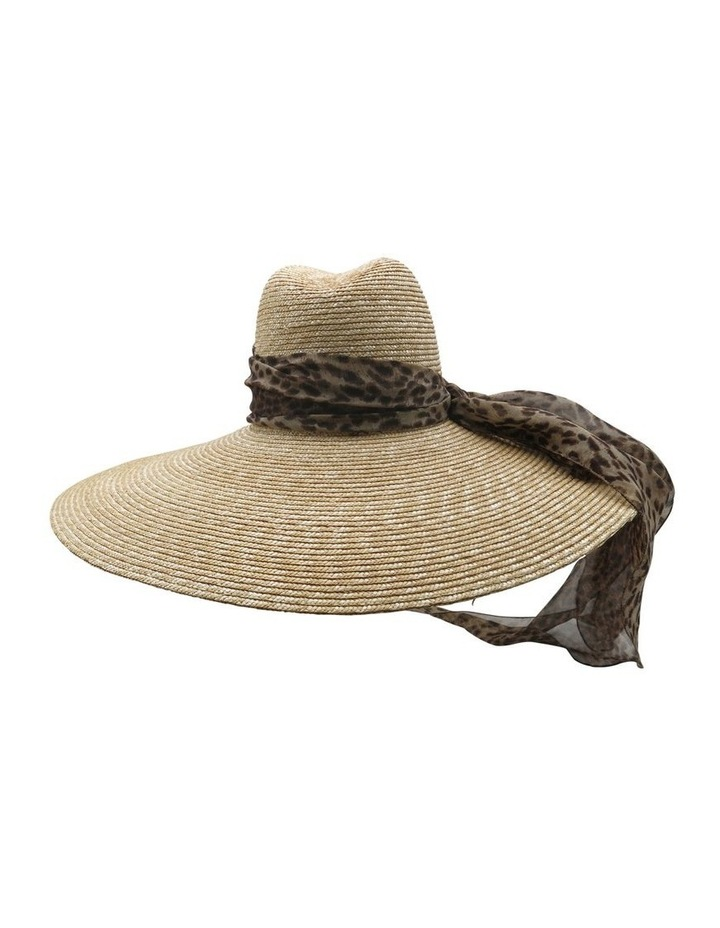 Wide Brim Straw Hat With Scarf image 2