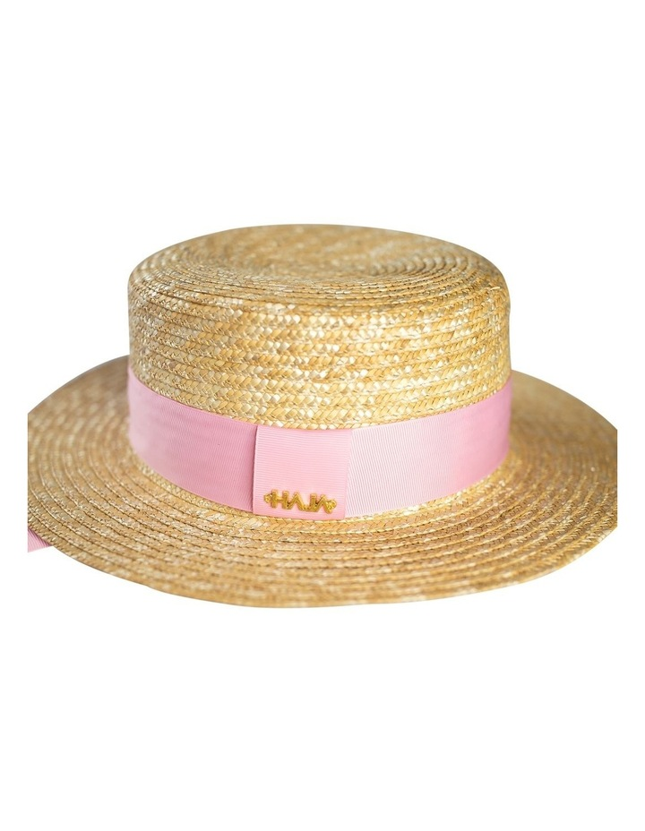 Boater Hat With Pink Ribbon image 1