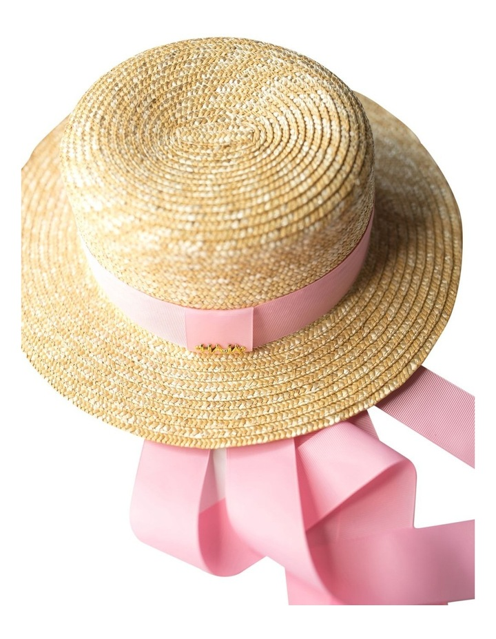 Boater Hat With Pink Ribbon image 2