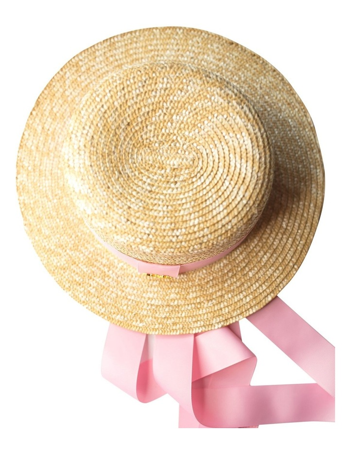 Boater Hat With Pink Ribbon image 4