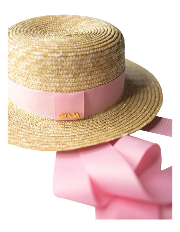 Boater Hat With Pink Ribbon image 5