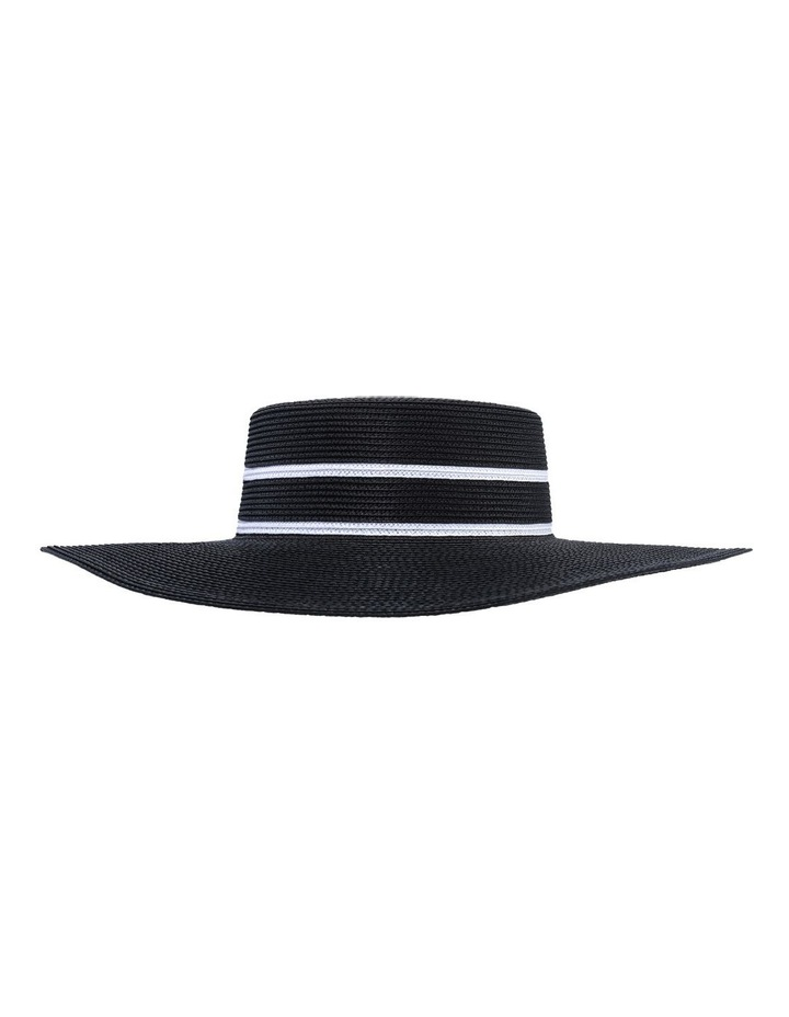 Wide Brim Boater With Double Line Detail Black Racewear Hat image 1