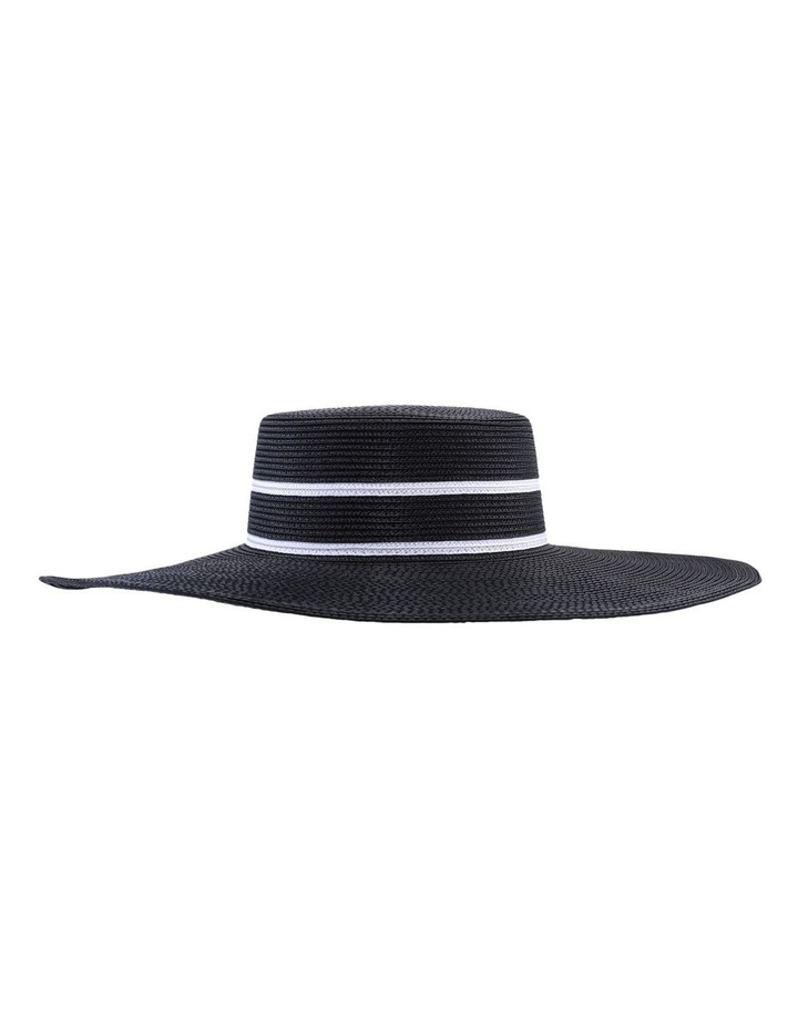 Wide Brim Boater With Double Line Detail Black Racewear Hat image 2