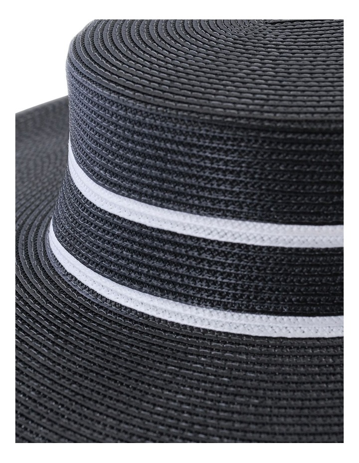 Wide Brim Boater With Double Line Detail Black Racewear Hat image 3