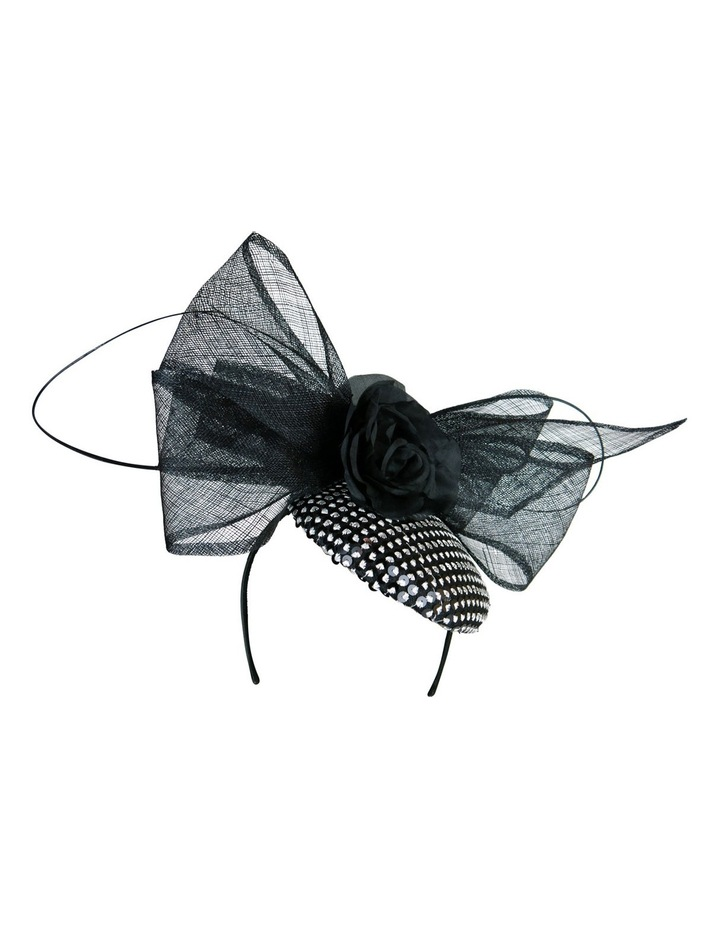 'EMILY' Sequin Beret with Sinamay Bow & Flower image 3