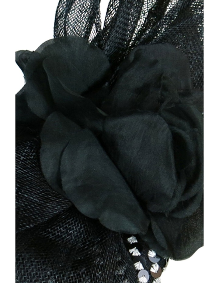 'EMILY' Sequin Beret with Sinamay Bow & Flower image 4