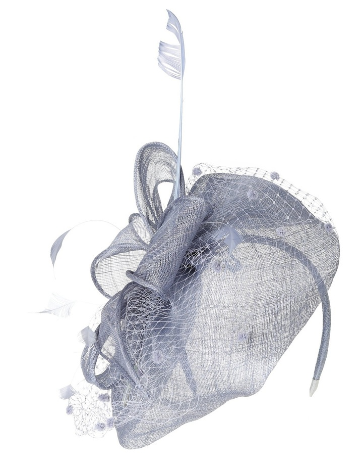 Classic Sinamay Curved Pad with Self Bow  Spotted Veiling and Feathers image 1