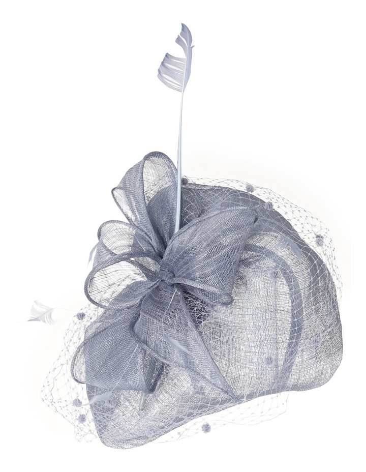 Classic Sinamay Curved Pad with Self Bow  Spotted Veiling and Feathers image 2