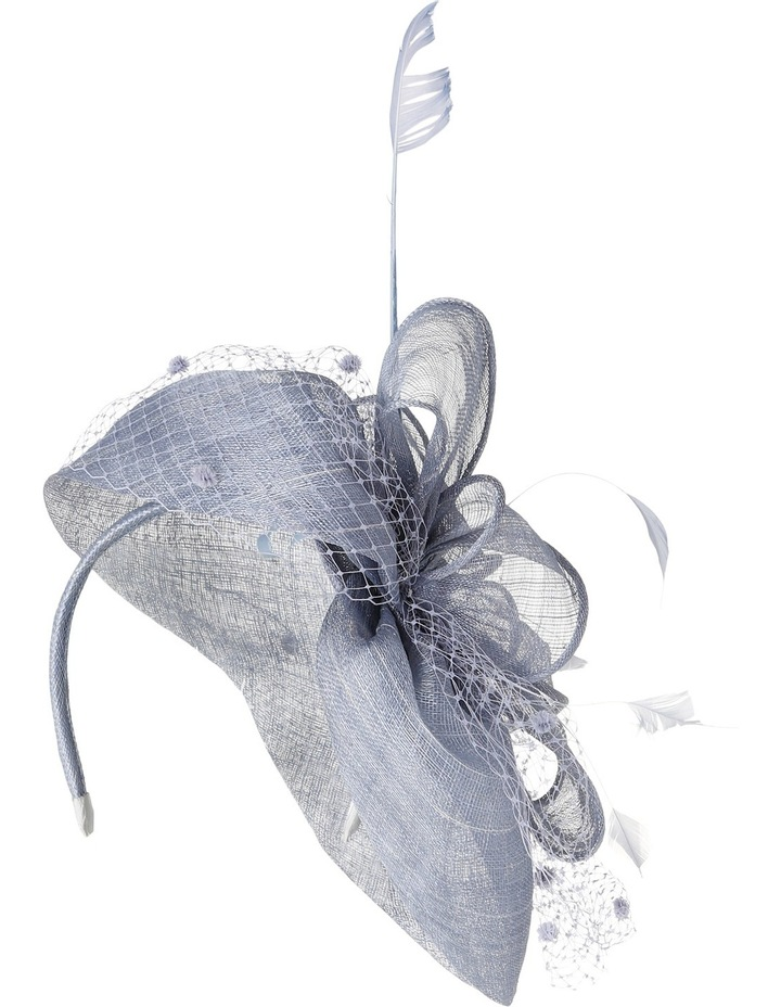 Classic Sinamay Curved Pad with Self Bow  Spotted Veiling and Feathers image 3