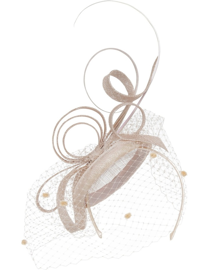 Sinamay Pad With Sinamay Loops And Curls Veiling And Long Sticks image 1