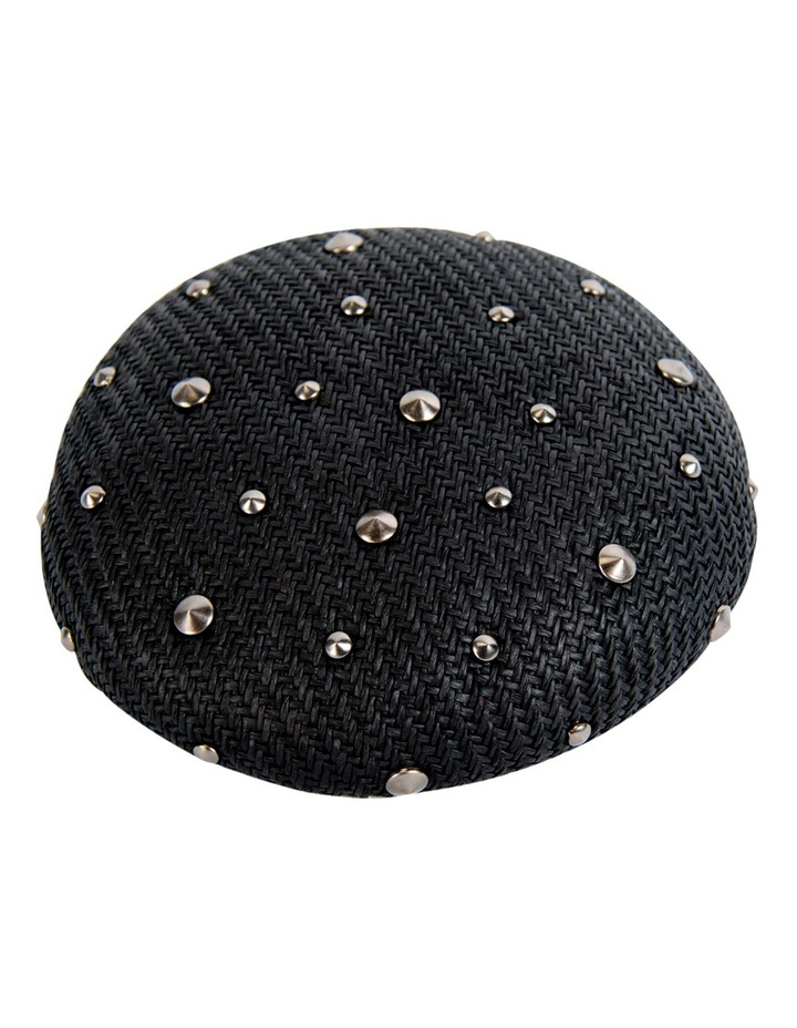 Black Round Fascinator With Metal Studs image 1