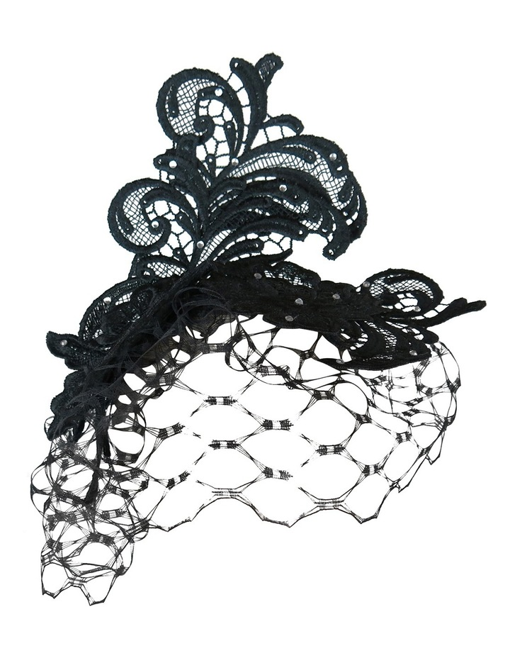 Lace Fascinator With Veiling And Diamante image 1