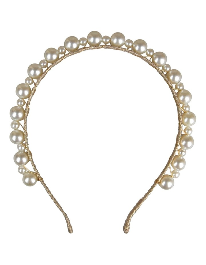 Gold Lurex Headband With Small/Large Pearl image 1