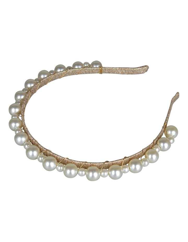 Gold Lurex Headband With Small/Large Pearl image 2
