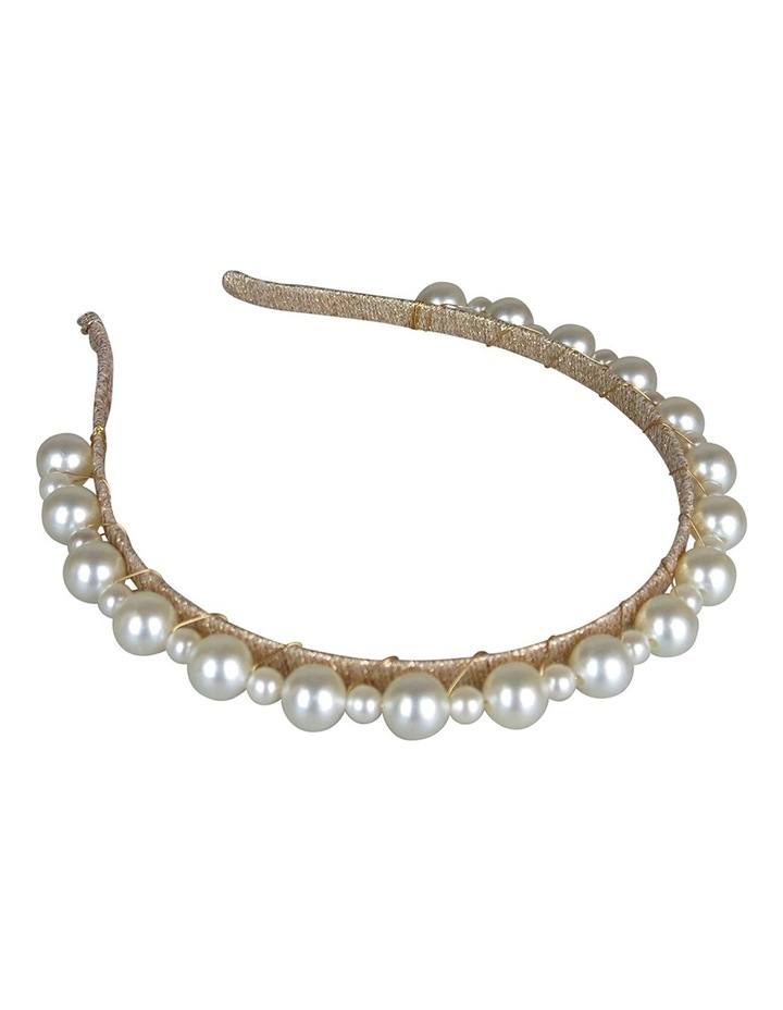 Gold Lurex Headband With Small/Large Pearl image 4