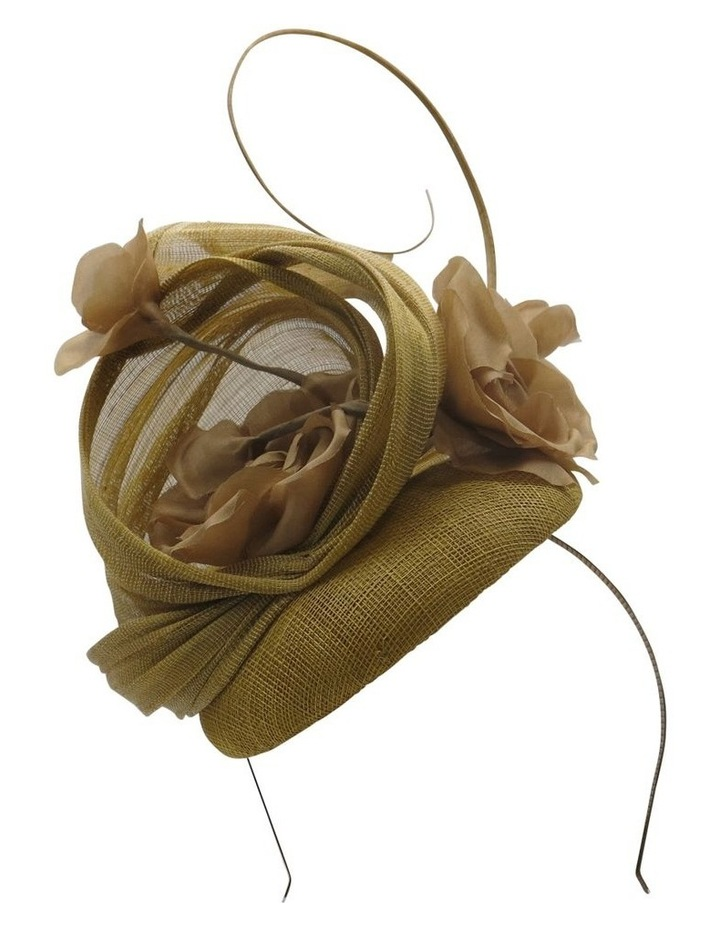 Sinamay Beret With Silk Flowers And Curled Stick Fascinator image 1