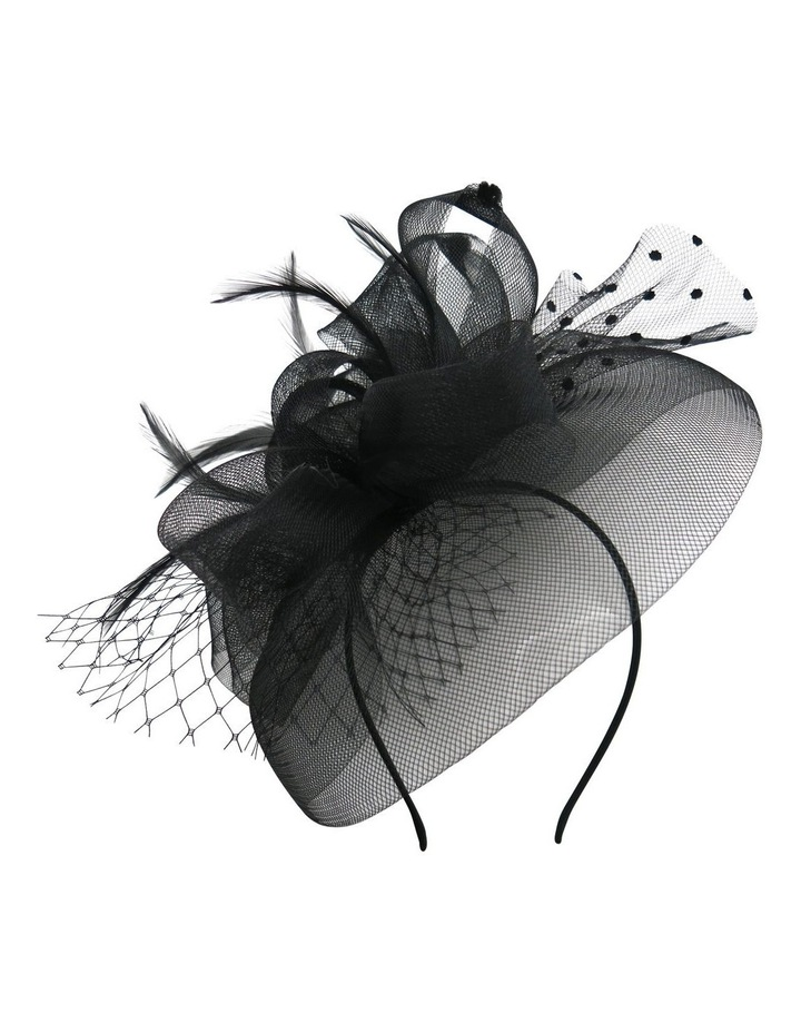 Multi Crin Loops With Spot Veil And Feathers Fascinator image 1