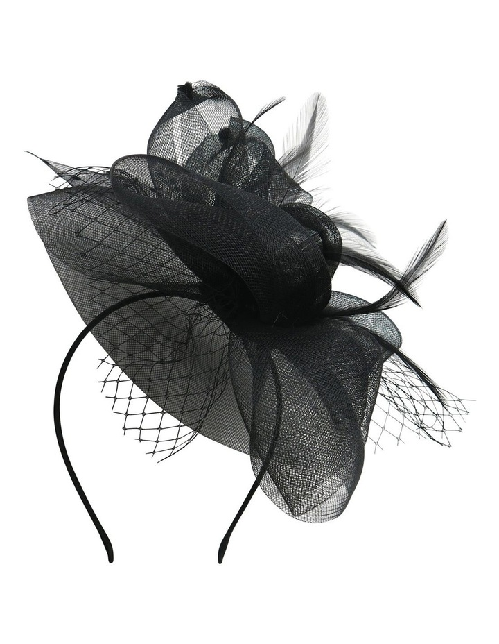 Multi Crin Loops With Spot Veil And Feathers Fascinator image 2