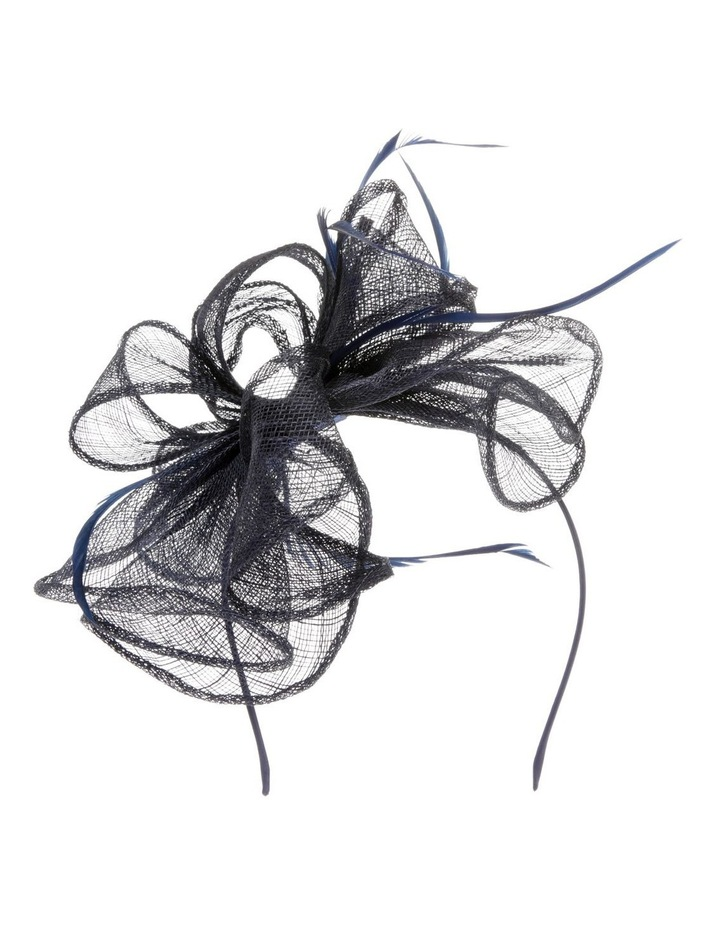 Sinamay Multi-Loop Fascinator with Coque Feathers - Navy image 1