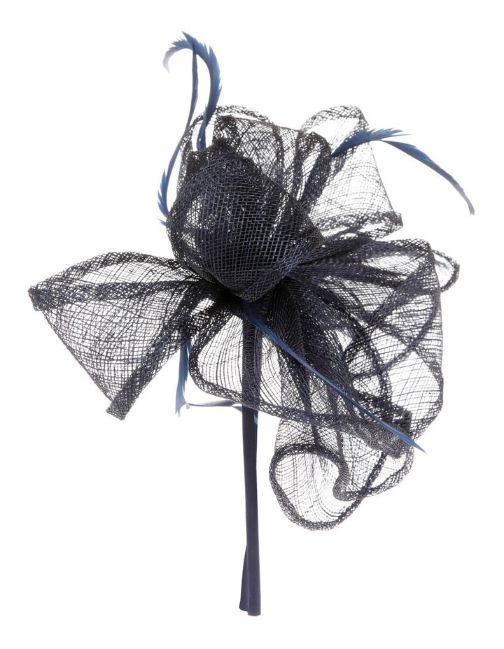 Sinamay Multi-Loop Fascinator with Coque Feathers - Navy image 2
