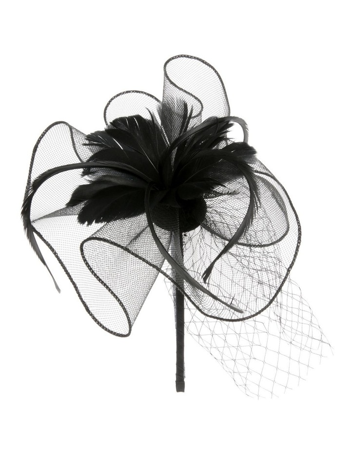 Crinoline Fascinator with Feathers and Veil image 2