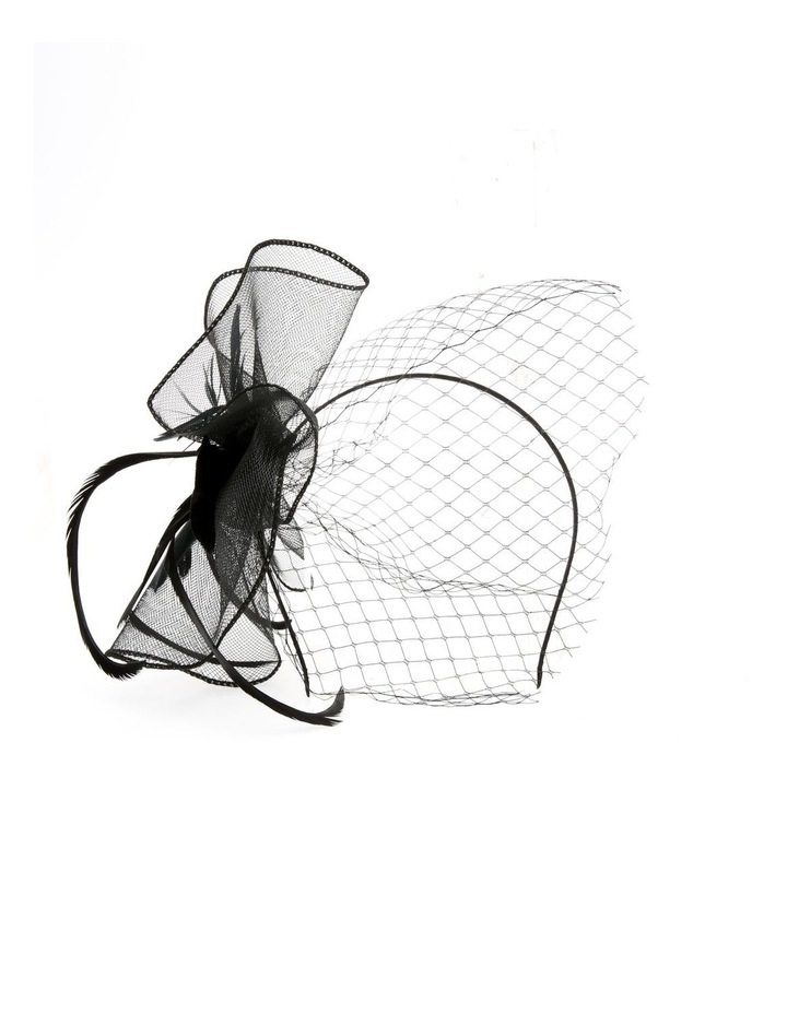 Crinoline Fascinator With Feathers And Veil Fascinator image 1