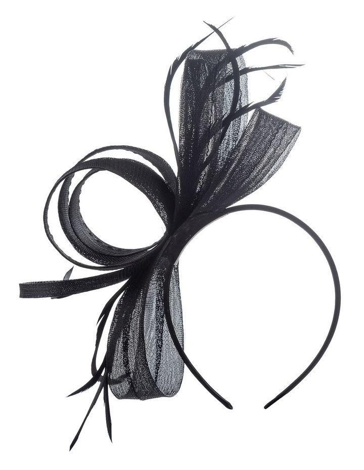 Crinoline Bow And Feathers On Black Headband Fascinator image 1