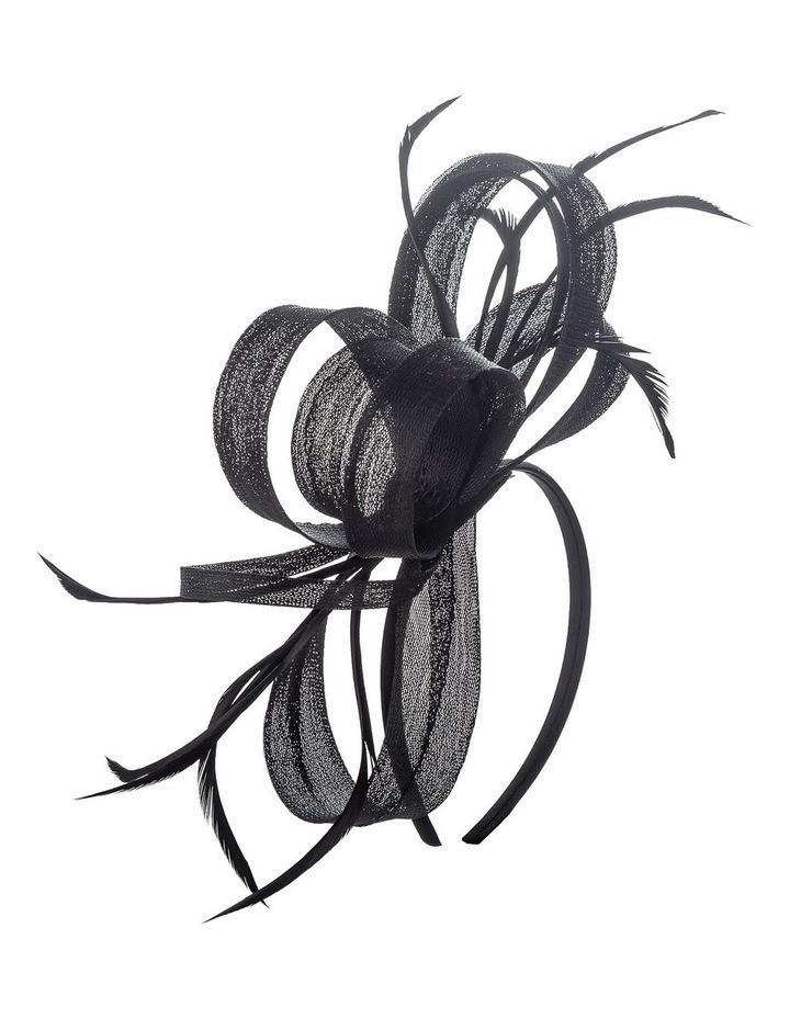 Crinoline Bow And Feathers On Black Headband Fascinator image 2