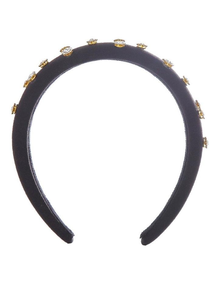 Padded Jeweled Flowers Black Headband image 1