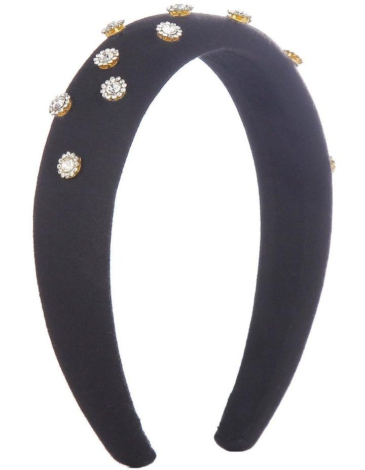 Padded Jeweled Flowers Black Headband image 2