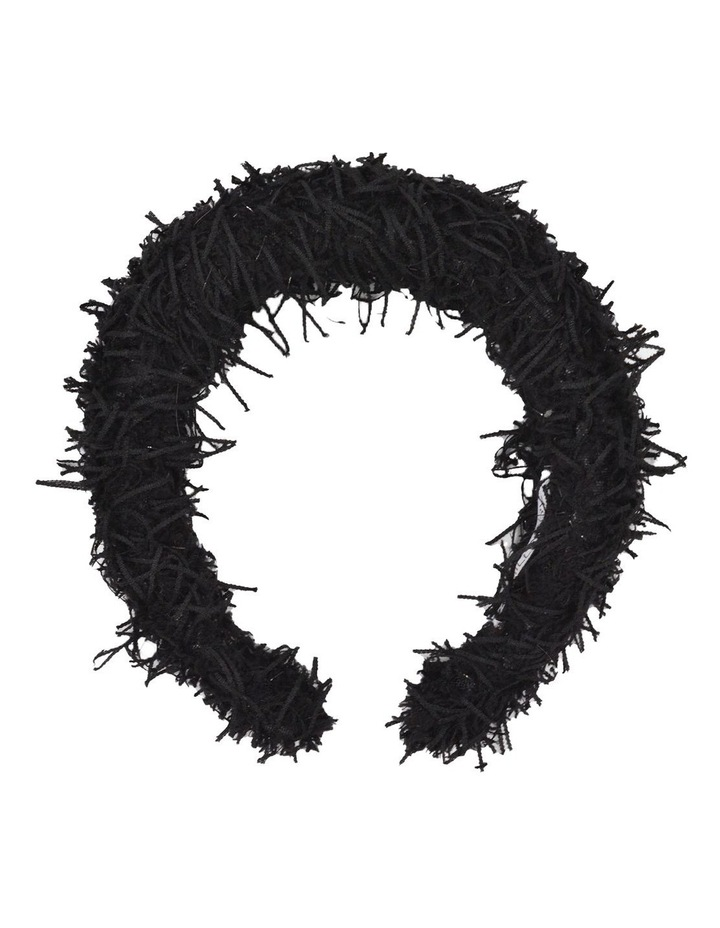 Black Vegan Suede Feather Headband image 1
