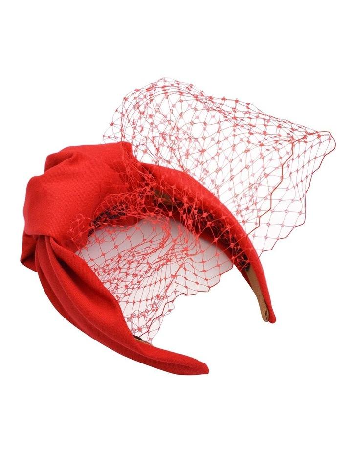 Red Turban Style Headband With Veil image 1