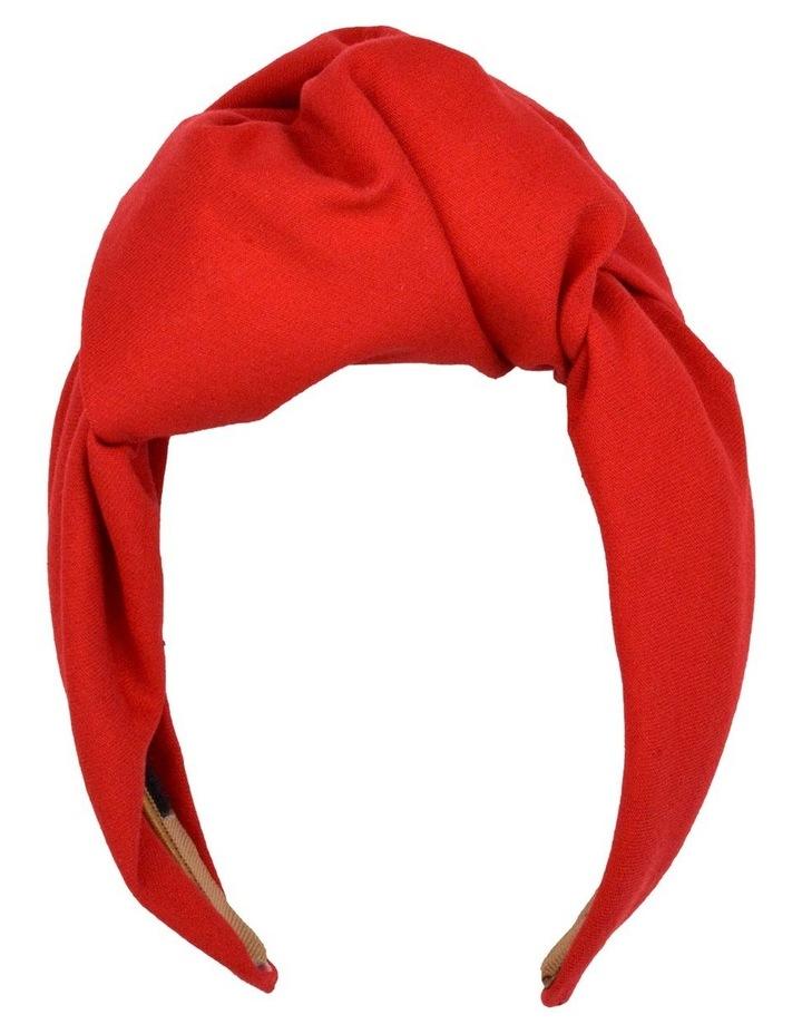 Red Turban Style Headband With Veil image 2