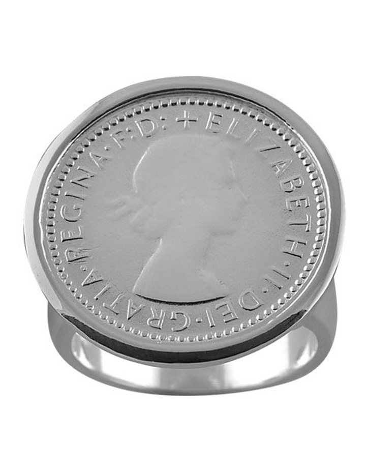 Sterling Silver 6 Pence Coin Ring image 1