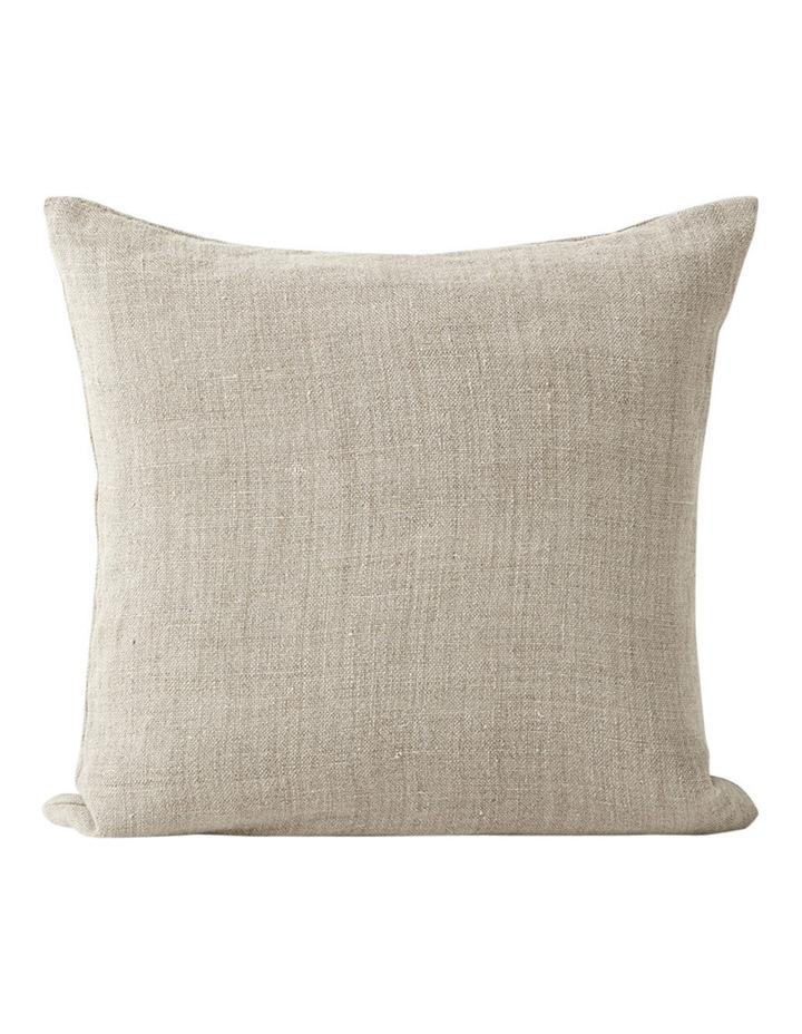 Vintage Linen Fringe Cushion in Natural image 1