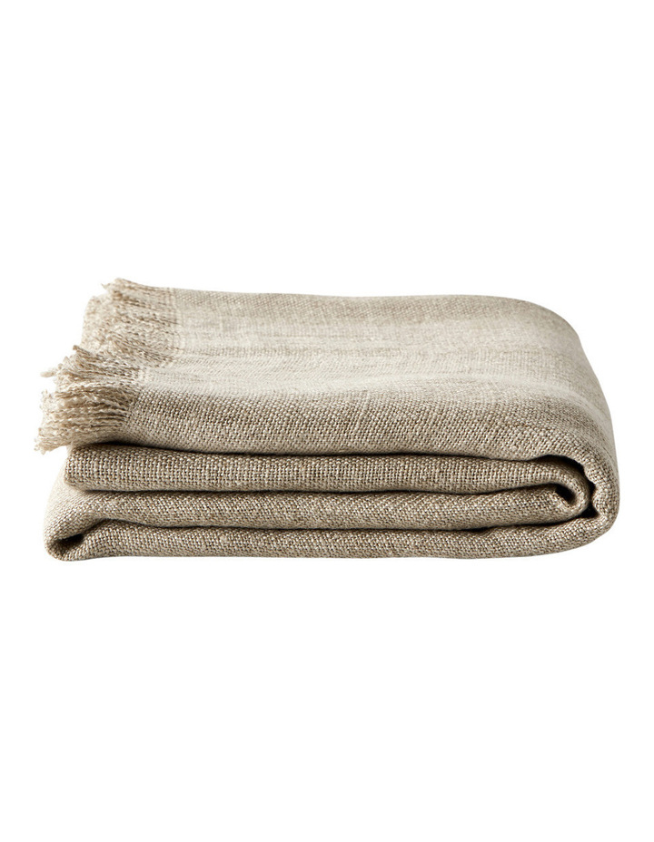 Vintage Linen Throw in Natural image 2