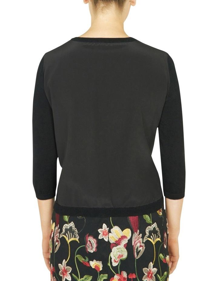 Silk Back Cropped Sleeve Cardigan image 3